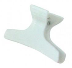 SIBEL Зажим пластмассовый широкий, белый 12 шт/уп