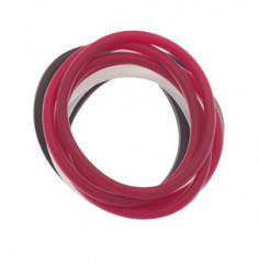 DEWAL BEAUTY Резинки для волос, силикон, белый, черный, красный 12 шт
