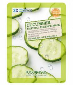 Тканевая 3D маска с экстрактом огурца FoodaHolic Cucumber Natural Essence Mask 23мл