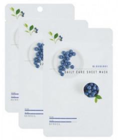 Набор Тканевых масок с экстрактом черники EUNYUL BLUEBERRY DAILY CARE SHEET MASK 22г*3шт