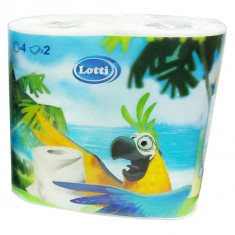 Lotti Бумага туалетная 2 слоя 4шт белая попугай