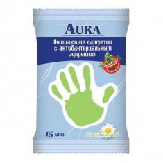 AURA Влажные салфетки с антибактериальные Ромашка 15шт